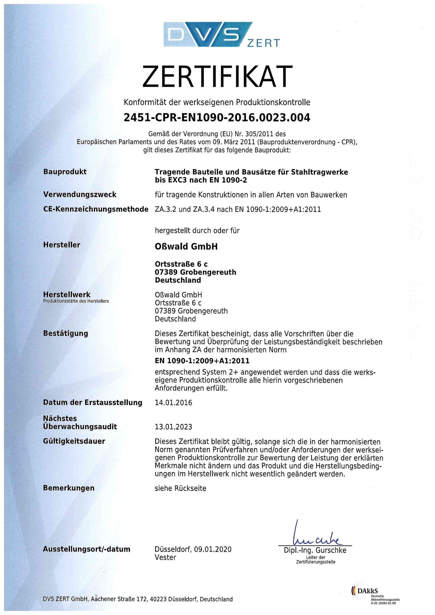Zertifikat 2451-CPR-EN1090-2016-0023-004-s1